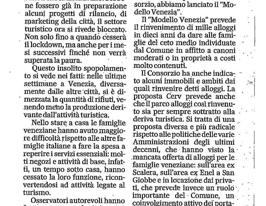 """""""Un modello sull'esperienza di Cortina"""" – Gazzettino di venerdì 17 aprile 2020"""