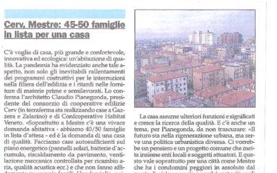 """Da Gente Veneta del 22 gennaio 2021: """"Cerv, Mestre: 45-50 famiglie in lista per una casa"""""""