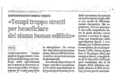 """Confcooperative Habitat Veneto – """"Tempi troppo stretti per beneficiare del sisma bonus edilizio"""". Dal Mattino di Padova del 4 marzo 2021"""